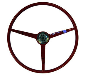 1966 Ford Mustang 3 Spoke Steering Wheel Dark Red Golden Star