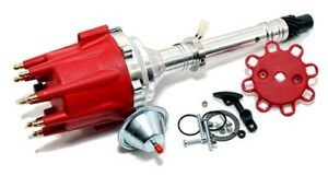 Red Small Big Block Chevy Pro Billet Distributor Sbc Bbc 350 454 Vacuum Advance