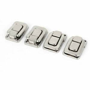 4 Pcs Necklace Box Case Lock Hook Hinge Latch Hasp Sets Silver Tone W Screws