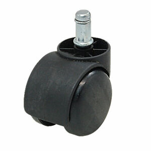 Twin Wheel Chair Casters W Grip Ring Connector Black