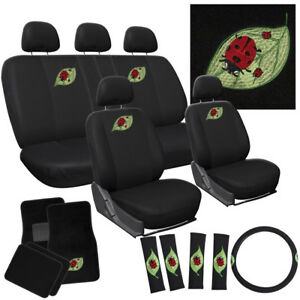 21pc Beetle Lady Bug Bucket Low Back Front Rear Set Seat Cover Mats Suv A2