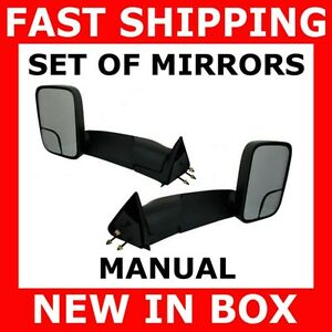 New Mirror 94 01 Dodge Ram Pickup Truck Manual Towing Tow Set Pair