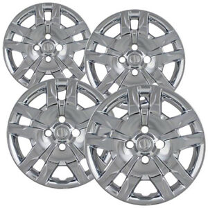 4 Pc Hubcaps Fits 12 15 Nissan Sentra 16 Chrome Snap On Replacement Wheel Cover