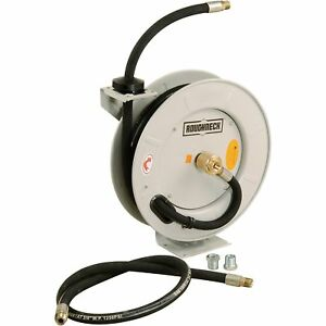 Roughneck Spring rewind Fuel And Oil Hose Reel With Hose 1250 Psi