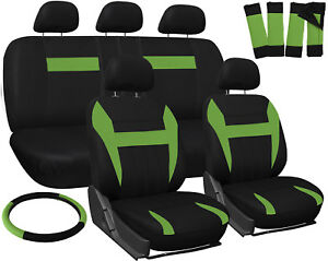 Seat Covers For Jeep Wrangler Green Black W Steering Wheel Belt Pad Head Rests