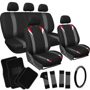 20pc Set Red Gray Black Auto Car Seat Cover Wheel belt Pad head Rest floor Mats