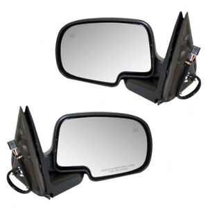 New Pair Power Side Mirror Heated Chrome Cap Cadillac Gmc Chevy Pickup Truck
