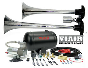 Loud Dual Trumpet Air Horn Kit Viair 98c 1 Gallon Best Buy For Car Truck Rv Utv