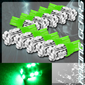 10x Green Smd 12 Led 12v T10 Wedge Light Bulb Interior License Plate Side Marker