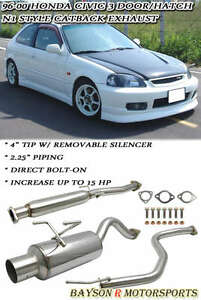 N1 style Catback Exhaust Silencer Fits 96 00 Honda Civic 3dr Hatch Ek