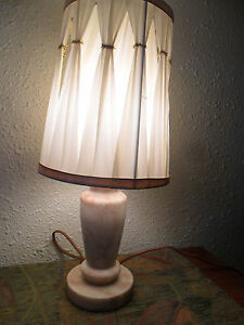 Vintage Marble Lamp Art Deco Alabaster Marble Lamp With Cloth Cord Free Ship
