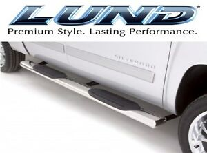 Lund 24355008 6 Inch Oval Straight Ss Nerf Step Bars 99 13 Chevy Silverado Truck
