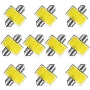 10x Super White 31mm Festoon Cob Led License Interior Light Bulbs De3175 3022