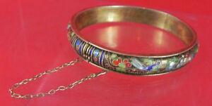 Antique Chinese Cloisonne Enamel Silver Bangle Original Gold Wash Interior