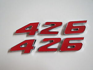 426 Engine Id Fender Hood Scoop Quarter Trunk Emblems Red Fits Dodge Plymouth