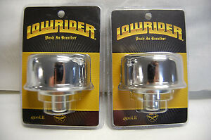 Lot Of 2 Push In Valve Cover Breathers 3 4 To 1 1 4 Lowrider Logo Chrome