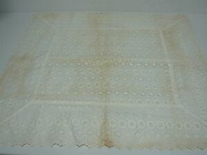 Antique Linen With Embroidery Eyelet Flat Pillow Cover 29 5 X 28
