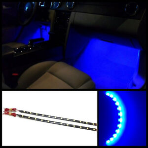 4x 12 Blue 12 Smd Led Interior Exterior Strip Footwell Ambient Light Hid B2