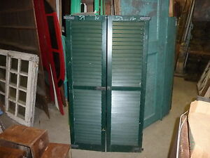 Pair Vintage C1940 Louvered House Window Shutters Green 59 H 16 W Hardware