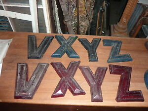 C1950 60 S Movie Marquee Letters V X Y Z Plastic Back Lit Color 7 5 9 X 10