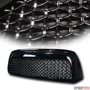 For 07 09 Toyota Tundra Gloss Blk Honeycomb Mesh Front Bumper Hood Grill Grille