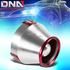 6 Inlet Red silver Aluminum Heat Shield Cold Air Short Ram Intake Cone Filter