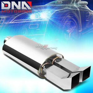 3 inlet Chrome Dual Bent Square Tip Performance Stainless Oval Exhaust Muffler