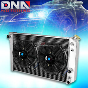 Tri Core Full Aluminum Radiator 2 X 10 Black Fan 82 02 Chevy S10 Blazer Corvette