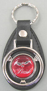 Vintage Red Buick Eagle Mini Steering Wheel Black Leather Key Ring Fob