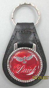 Vintage Red Buick Eagle Logo Leather Silver Key Ring 1959 1964 Last One
