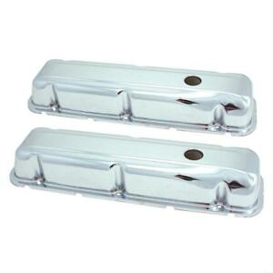 Spectre 5276 Valve Covers Stock Height Steel Chrome Plain Buick 350 V8 Pair