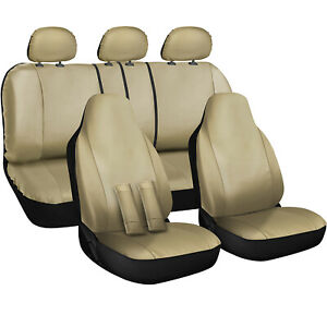 Oxgord Faux Leather Car Seat Covers 17pc Set W Steering Wheel Belt Pad Head Rest
