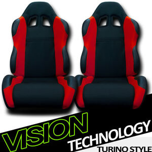 Ts Sport Blk Red Cloth Fabric Reclinable Racing Bucket Seats W Sliders Pair V06