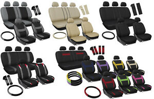 Seat Covers For Auto Set Of Cloth Bucket Bench Steering Wheel Belt Pad Head Rest