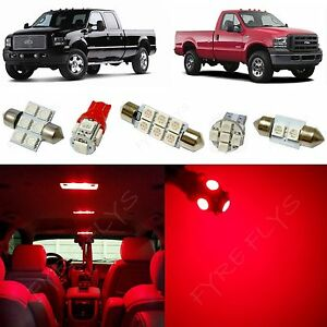 14x Red Led Lights Interior Package Kit 1999 2016 Ford F250 F350 Super Duty Fs1r