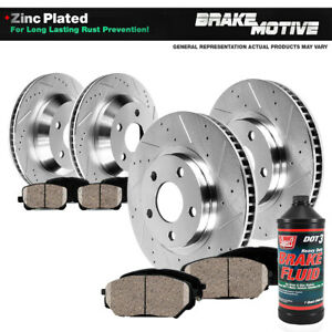 Front Rear Drill Slot Brake Rotors And 8 Ceramic Pads For Chevy Gmc Olds