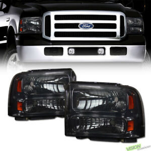 Crystal Smoke Headlights Lamps Amber Dy 05 07 Ford F250 f350 Superduty Excursion