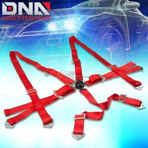 Universal 6 point 2 Red Nylon Strap Harness Safety Camlock Racing Seat Belt