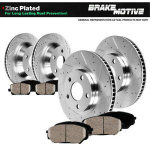 Front Rear Drill Slot Brake Rotors Ceramic Pads Fit Infiniti G35 Nissan 350z