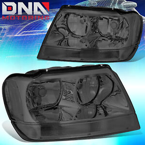 For 1999 2004 Jeep Grand Cherokee Wj Laredo Limited Smoked Clear Headlights 4x4