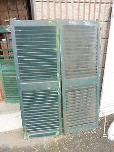Pair Antique Wide Victorian Louvered House Window Shutters Green 58 H X 20 W