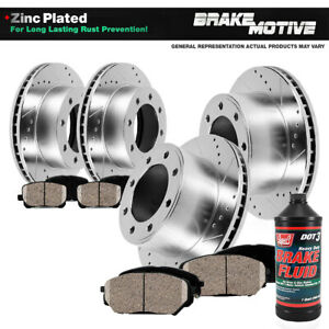 Front Rear 4 Drill Slot Brake Rotors And 8 Ceramic Pads For Chevy Gmc 2wd 4wd