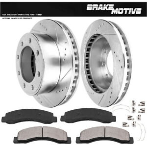 Ford Excursion F250 F350 Front Drilled Slotted Brake Rotors Ceramic Pads 4wd