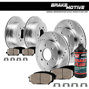 Front rear Drill Slot Brake Rotors And Ceramic Pads For Escalade Chevy Silverado