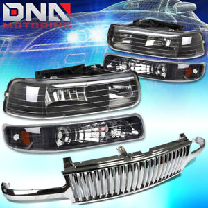 For Silverado Tahoe Chrome Front Bumper Grill Black Housing Headlamps Lights