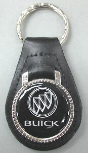 Vintage Black Buick Tri Shield Black Leather Usa Key Ring Key Fob Key Holder