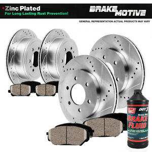 Front Rear Drill Slot Brake Rotors And Ceramic Pads For F150 Mark Lt 4wd 6 Lug