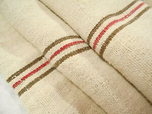 Rare Brown Stripe 22x54 Vintage Antique Hemp Linen Fabric Feed Sack Grain Bag