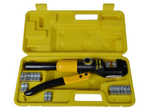 10 ton Hydraulic Crimping Wire Battery Cable Crimper Lug Terminal Tool W 9 Dies