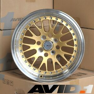 15 15x8 4x100 25 Avid 1 Av 12 Machined Silver Lip Gold Mesh Tuner Wheels Set 4